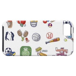 違うなタイプのスポーツ用品のクローズアップ iPhone SE/5/5s ケース