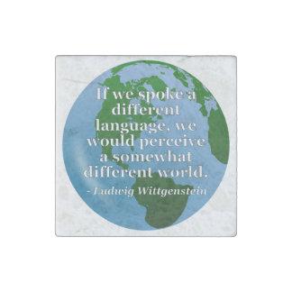 違うな言語違うな世界の引用文。 地球 ストーンマグネット