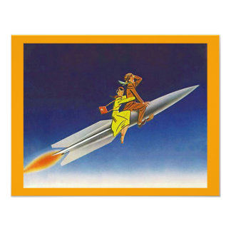 遠くにな移動発表に乗るレトロロケットの船 カード