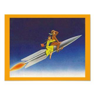 遠くにな移動発表に乗るレトロロケットの船 10.8 X 14 インビテーションカード