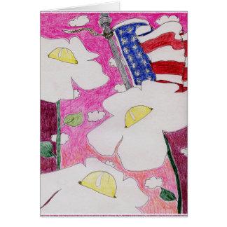 遠ざけられた精神: 3花米国の旗のピンクの空 カード