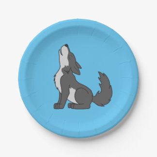 遠ぼえしているオオカミの子犬 ペーパープレート