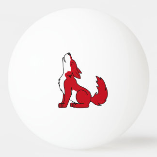 遠ぼえしている明るいアメリカアカオオカミの子犬 卓球ボール