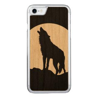 遠ぼえのオオカミのシルエットの木製のiPhone 6 Carved iPhone 7 ケース