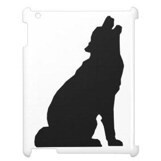 遠ぼえのオオカミのシルエット iPadカバー