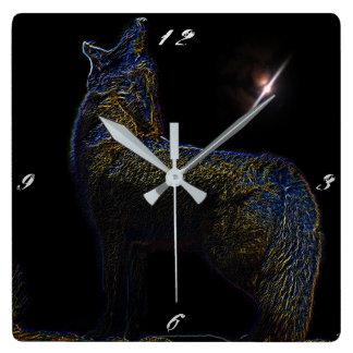 遠ぼえのオオカミの柱時計 スクエア壁時計