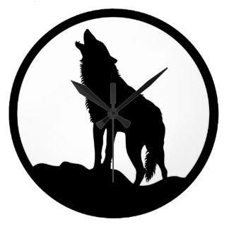 遠ぼえのオオカミの白黒柱時計 ラージ壁時計