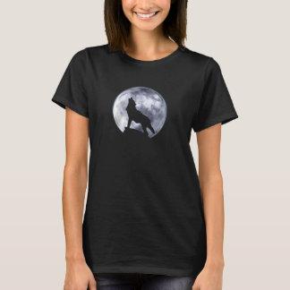 遠ぼえのオオカミ(F、モノクロ) Tシャツ