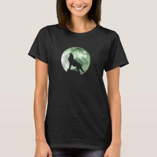 遠ぼえのオオカミ(F、緑) Tシャツ