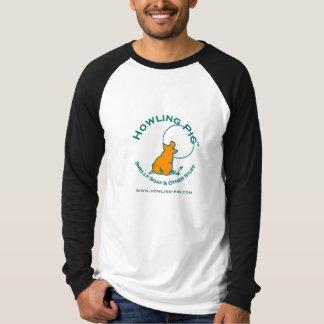遠ぼえのブタのRaglan袖の人のワイシャツ Tシャツ