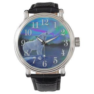 遠ぼえの北極オオカミ及び月の野性生物の芸術 腕時計