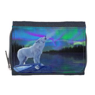 遠ぼえの北極オオカミ及びNorthern Lightsの野性生物の芸術 ウォレット