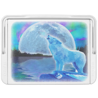 遠ぼえの白い北極オオカミ及び月の野性生物の芸術 IGLOOクーラーボックス