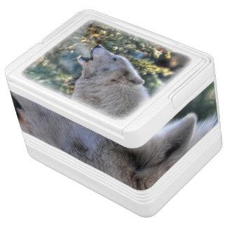 遠ぼえの白い北極オオカミ及び森林野性生物の写真 IGLOOクーラーボックス