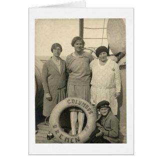 遠洋定期船の餞別のヴィンテージの女性 カード