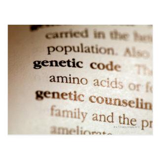 遺伝コードおよび遺伝の勧める定義 ポストカード