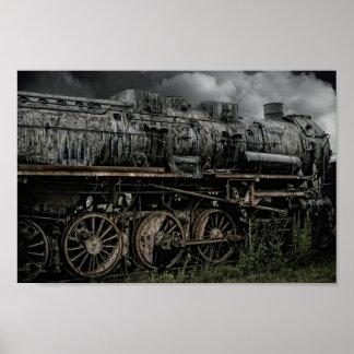 遺棄されたロコモーティブの蒸気の列車ポスター ポスター