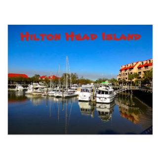 避難所の入江のマリーナのHilton Head Island SCのボート ポストカード