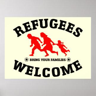 避難者の歓迎はあなたの家族を持って来ます ポスター