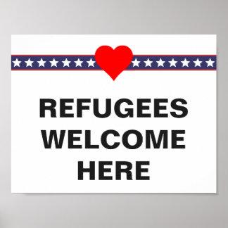 避難者はここで歓迎します: カスタムな抗議 ポスター
