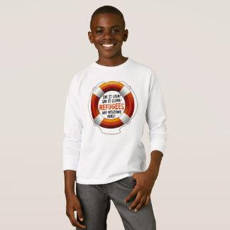 避難者は男の子の長袖のTシャツを歓迎します Tシャツ
