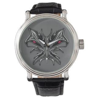 邪悪なガラス蝶ヴィンテージの革バンドの腕時計 腕時計