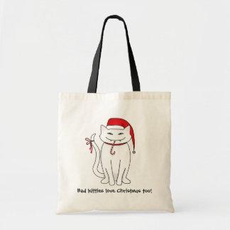 邪悪なホワイトクリスマスの子猫 トートバッグ