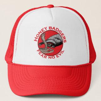 邪悪なラーテルのおもしろいな動物の赤いデザインを恐れないで下さい キャップ
