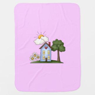 邸宅のピンクの女の子 ベビー ブランケット