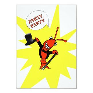 部分のパーティーのCrawfishかロブスターの招待状 カード
