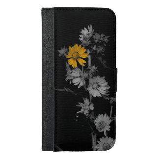 部分的な色の白黒花 iPhone 6/6S PLUS ウォレットケース