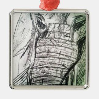 部屋の象 シルバーカラー正方形オーナメント