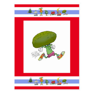 郵便はがきのかわいい漫画の連続したブロッコリー、 ポストカード