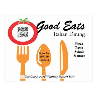 郵便はがきのテンプレートのカジュアルな食事のイタリア語 ポストカード