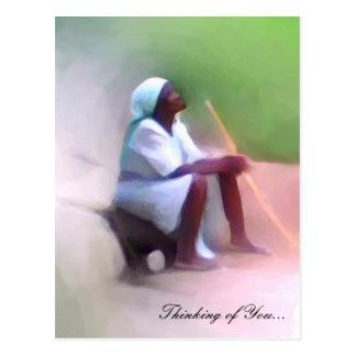 郵便はがきのテンプレート-黒いハイチの女性のモデル ポストカード