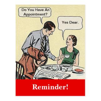 郵便はがきのレトロのカップルのアポイントメントのメモ ポストカード