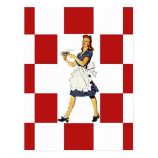 郵便はがきのレトロのチェッカーの正方形のダイナーのタイルの一見 ポストカード
