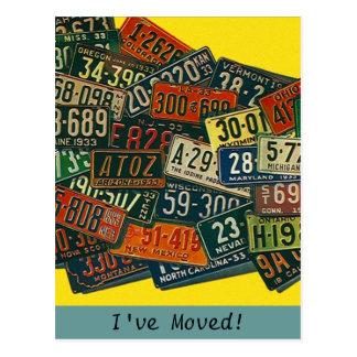 郵便はがきのヴィンテージのナンバープレート私は住所を動かしました ポストカード