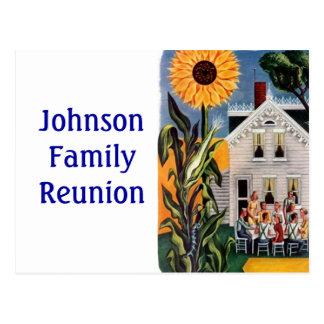 郵便はがきのヴィンテージのフロント・ポーチ家族の上着のRenuionのPC ポストカード