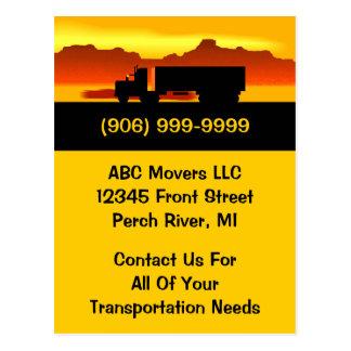 郵便はがきの移動トラックの引越し業者の輸送ビジネスPC ポストカード