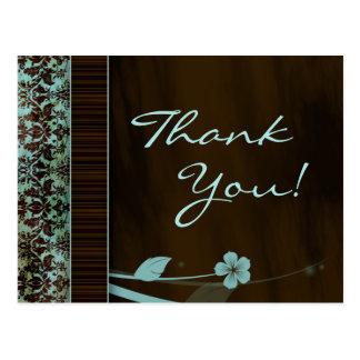 郵便はがきの青い花のダマスク織ブラウンありがとう