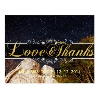 郵便はがきを結婚する金ゴールドの優雅の愛および感謝 ポストカード