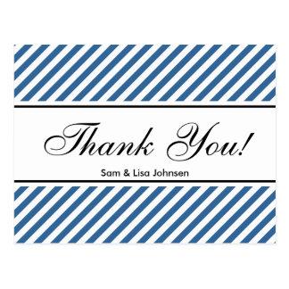 郵便はがき|の青い縞パターンありがとう ポストカード