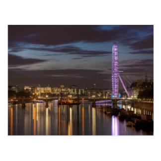 郵便はがき: 夜のロンドン目そしてThames川 ポストカード