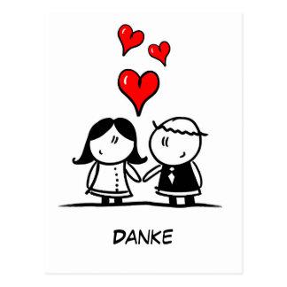 郵便はがき- Danke - Strichmännchen -漫画 ポストカード