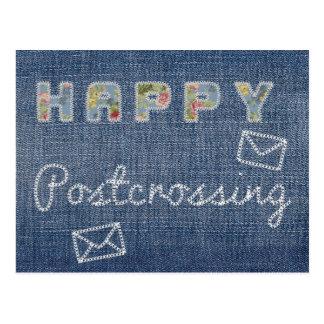 """郵便はがき""""Postcrossingの幸せなジーンズ"""" ポストカード"""