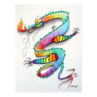 郵便はがきwのorig。 かわいい火呼吸のドラゴンの芸術 ポストカード