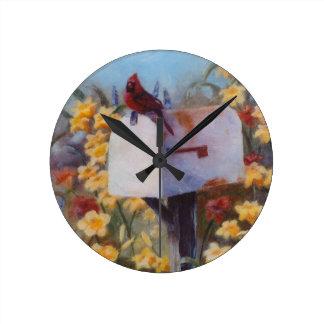 郵便を待っている(鳥)ショウジョウコウカンチョウ ラウンド壁時計