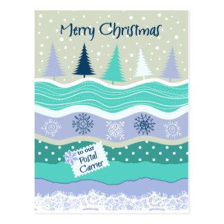 郵便キャリアの雪片Scrapbookgのためのクリスマス ポストカード
