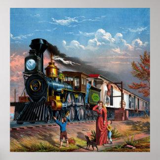 郵便列車のヴィンテージポスター ポスター